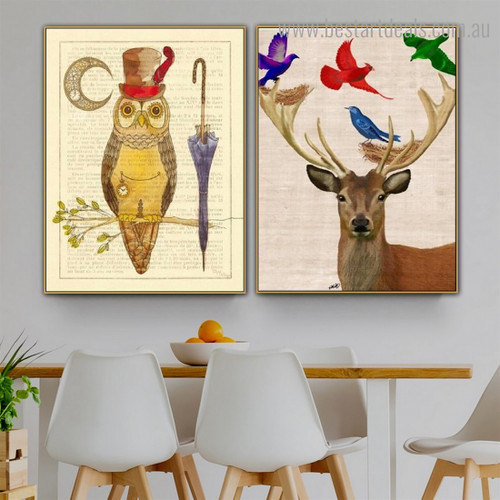Deer Birds Abstract Animal Framed Effigy Image Canvas Print for Room Wall Disposition