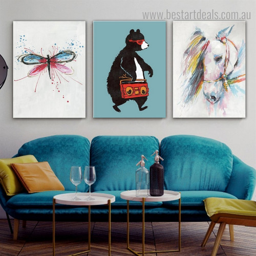 Dragonfly Horse Bear Abstract Animal Framed Effigy Photo Canvas Print for Room Wall Outfit