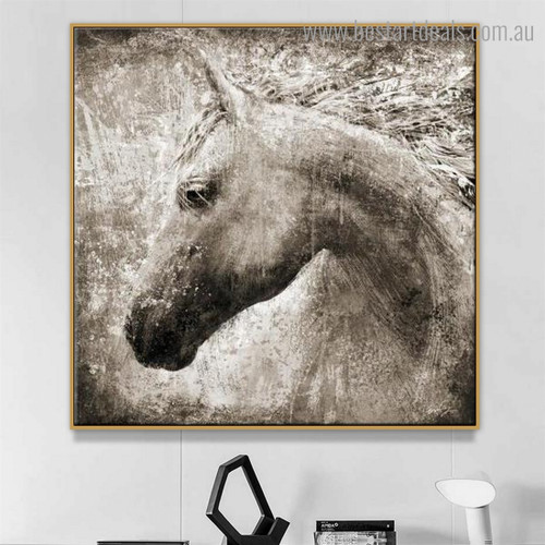 Particolored Steed Visage Abstract Animal Modern Framed Smudge Image Canvas Print for Room Wall Disposition