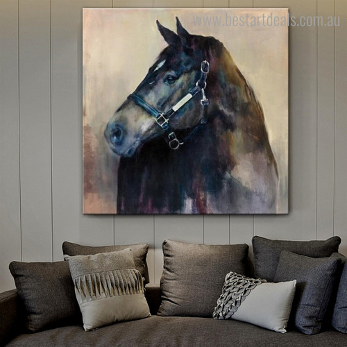 Black Equine Face Abstract Animal Modern Framed Smudge Photo Canvas Print for Room Wall Outfit