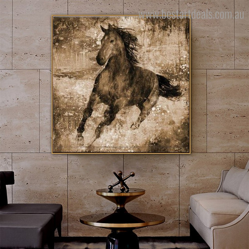 Chromatic Horse Abstract Animal Modern Framed Smudge Portrait Canvas Print for Room Wall Onlay