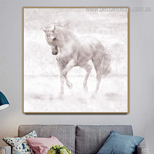 White Horse Abstract Animal Modern Framed Smudge Image Canvas Print for Room Wall Assortment