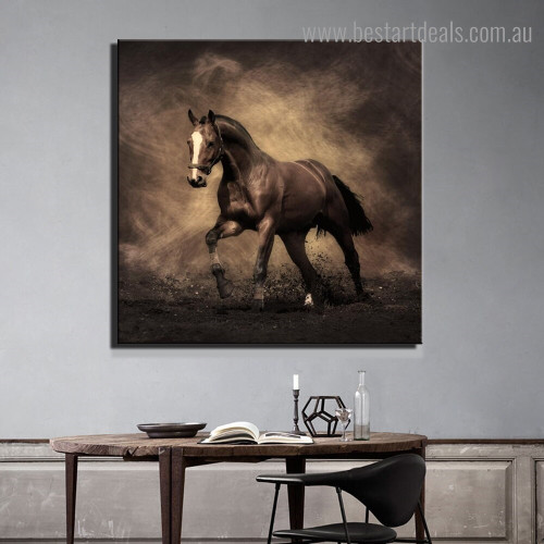 Running Steed Animal Modern Framed Smudge Image Canvas Print for Room Wall Decoration