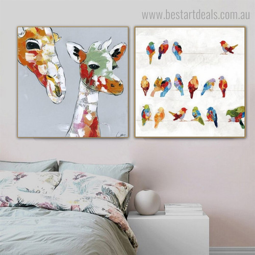 Multicoloured Giraffe Birdies Abstract Watercolor Framed Artwork Image Canvas Print for Room Wall Outfit