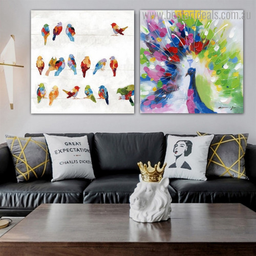 Varicoloured Birds Abstract Watercolor Framed Artwork Photo Canvas Print for Room Wall Decoration