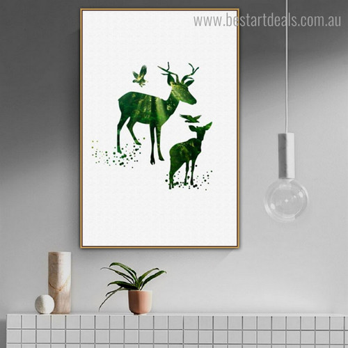 Elk with Fawn Abstract Animal Nordic Framed Artwork Image Canvas Print for Room Wall Finery
