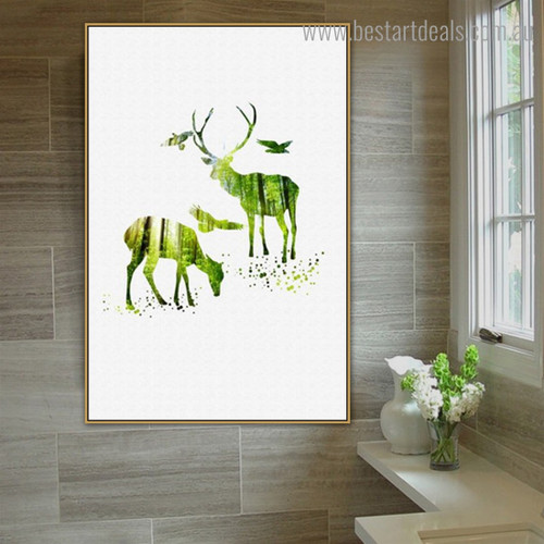 Green Elk Abstract Animal Nordic Framed Painting Picture Canvas Print for Room Wall Outfit
