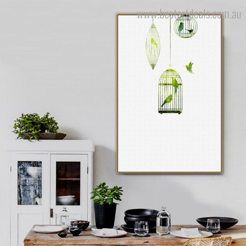 Green Cage Abstract Bird Nordic Framed Painting Image Canvas Print for Room Wall Decor