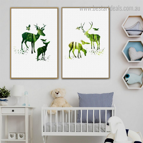Elk and Birdies Abstract Animal Nordic Framed Artwork Photo Canvas Print for Room Wall Onlay