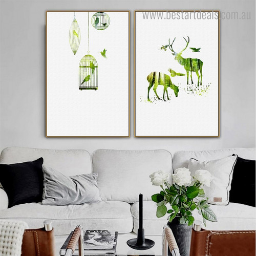 Green Deer Birds Abstract Nordic Framed Painting Photo Canvas Print for Room Wall Tracery