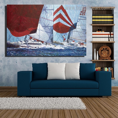 Gybing Downind Reproduction Framed Painting Picture Canvas Print for Room Wall Decor