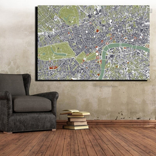 Amsterdam City Map Framed Artwork Portrait Canvas Print for Room Wall Tracery