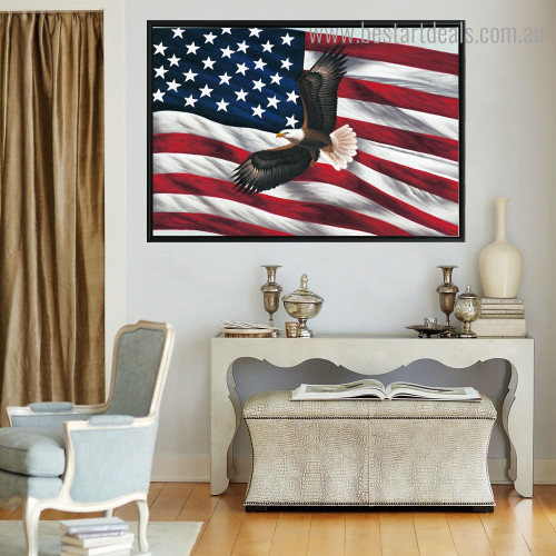 American Flag Bird Modern Framed Painting Photo Canvas Print for Room Wall Adornment