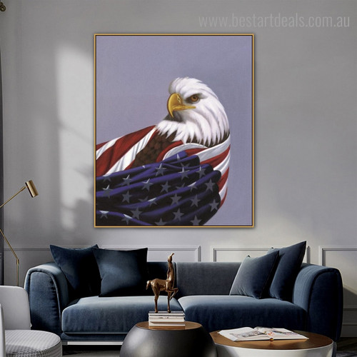 American Eagle Bird Modern Framed Painting Image Canvas Print for Room Wall Molding