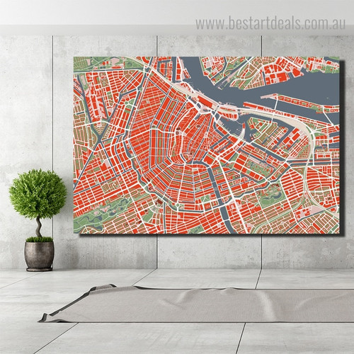 Amsterdam Aerial View City Map Framed Artwork Pic Canvas Print for Room Wall Drape