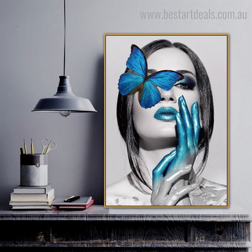 Blue Morpho Female Abstract Figure Modern Framed Painting Picture Canvas Print for Room Wall Disposition