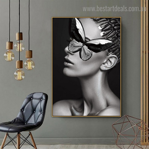 Monochrome Painted Lady Abstract Figure Modern Framed Artwork Image Canvas Print for Room Wall Drape