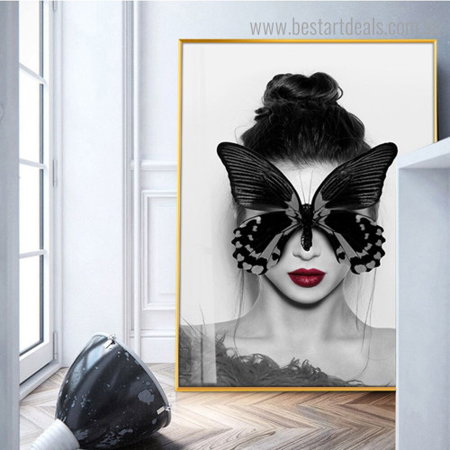 Black Butterfly Girl Abstract Figure Modern Framed Smudge Image Canvas Print for Room Wall Finery