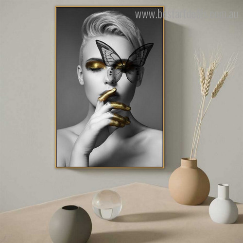Dame Butterfly Abstract Figure Modern Framed Artwork Portrait Canvas Print for Room Wall Finery