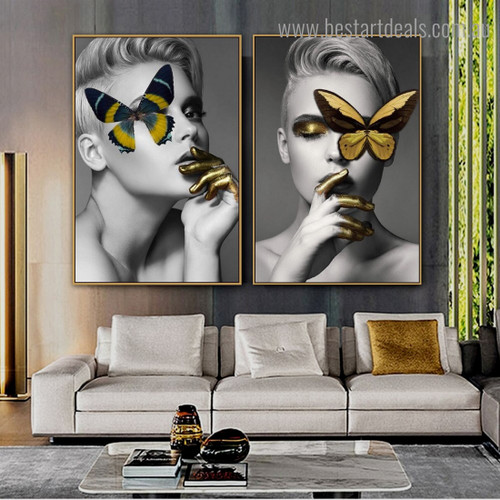 Colorific Butterflies Females Abstract Figure Modern Framed Artwork Picture Canvas Print for Room Wall Decoration