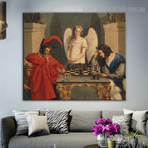 Faust and Mephisto Reproduction Figure Framed Painting Picture Canvas Print for Room Wall Disposition