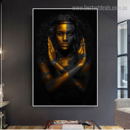 Golden Black Lady Abstract Figure Framed Artwork Image Canvas Print for Room Wall Garnish