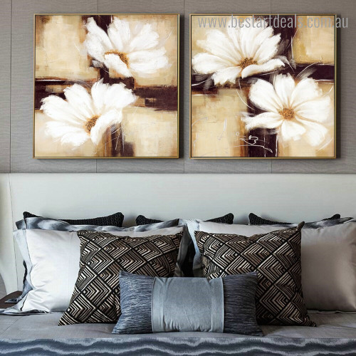 White Florets Abstract Floral Modern Framed Painting Portrait Canvas Print for Room Wall Assortment
