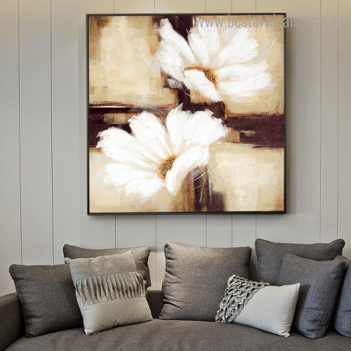 Two White Blossoms Abstract Floral Contemporary Framed Painting Photo Canvas Print for Room Wall Outfit