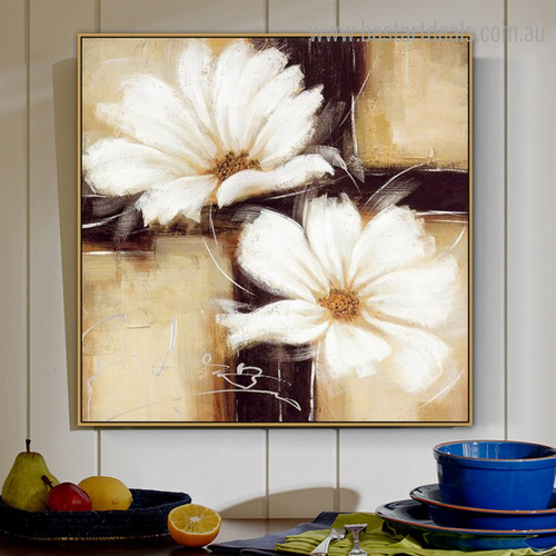 White Blooms Abstract Floral Contemporary Framed Painting Photo Canvas Print for Room Wall Garnish