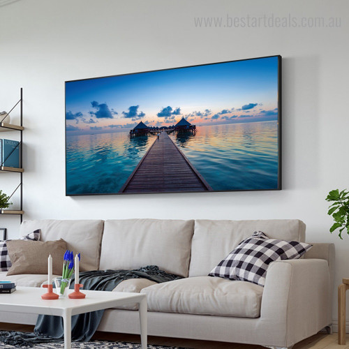 Tropical Islands Maldives Landscape Nature Framed Painting Picture Canvas Print for Room Wall Finery