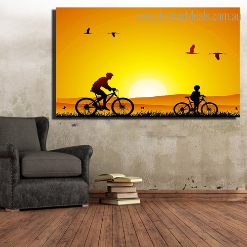 Sunset Cycling Landscape Nature Framed Painting Photo Canvas Print for Room Wall Decor