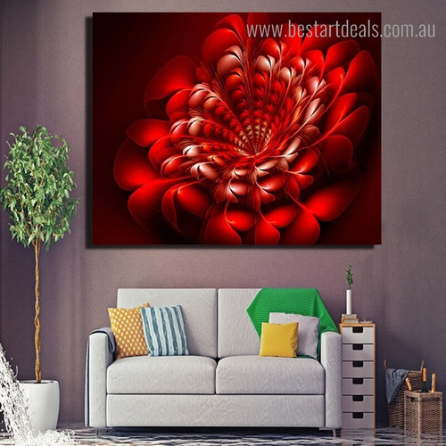 Red Color Flower Abstract Floral Modern Framed Painting Image Canvas Print for Room Wall Outfit