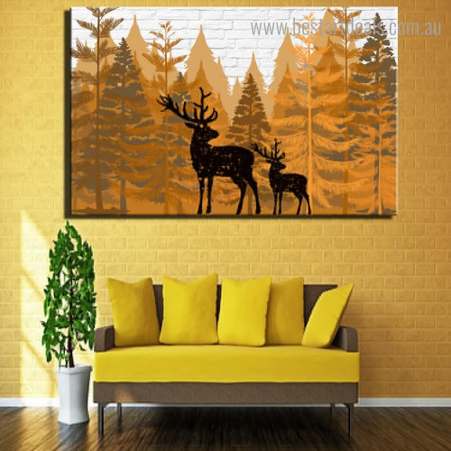 Black Deers Abstract Nordic Framed Smudge Portrait Canvas Print for Room Wall Garniture