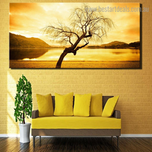 Dry Tree Landscape Nature Framed Painting Image Canvas Print for Room Wall Decoration