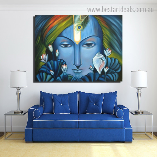 God Krishna Religious Modern Framed Artwork Pic Canvas Print for Room Wall Disposition