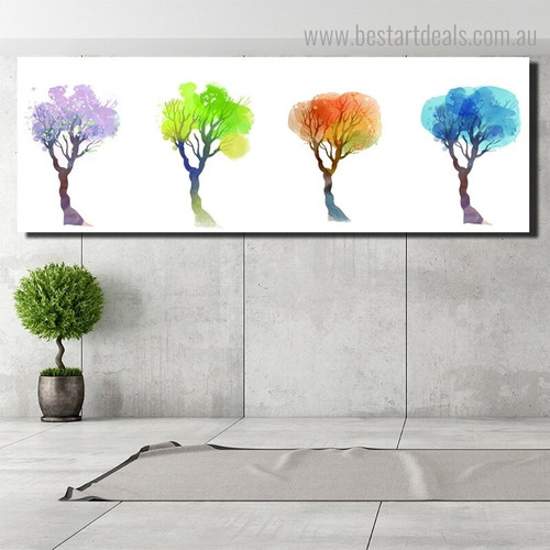 Colorful Treetops Abstract Panoramic Framed Painting Image Canvas Print for Room Wall Ornament