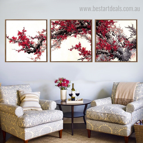 Red Plum Blossoms Floral Contemporary Framed Effigy Photo Canvas Print for Room Wall Onlay