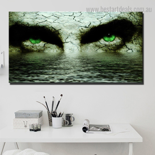 Green Eyes Abstract Contemporary Framed Effigy Photo Canvas Print for Room Wall Decoration