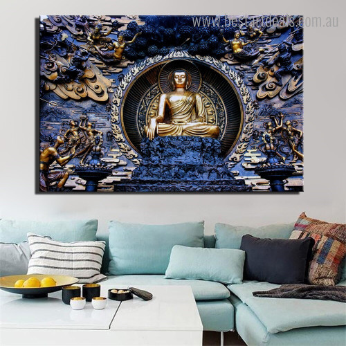 Grand Buddha Religious Modern Framed Smudge Image Canvas Print for Room Wall Flourish