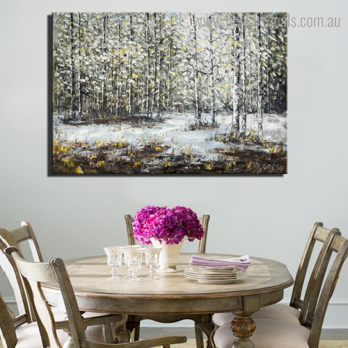 Winter Treetops Abstract Nature Modern Framed Painting Photograph Canvas Print for Room Wall Finery