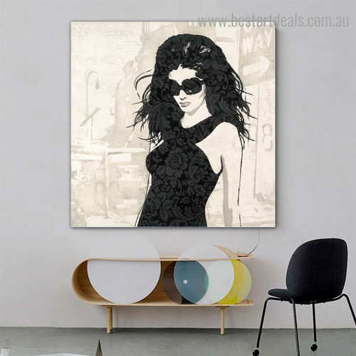 Young Damsel Abstract Figure Modern Framed Smudge Photograph Canvas Print for Room Wall Flourish