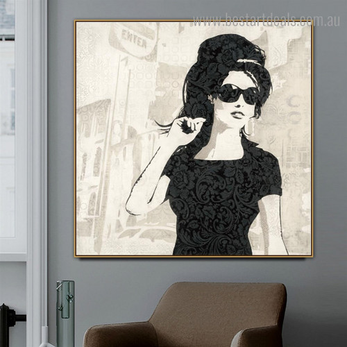 Wench Abstract Figure Modern Framed Smudge Portrait Canvas Print for Room Wall Assortment