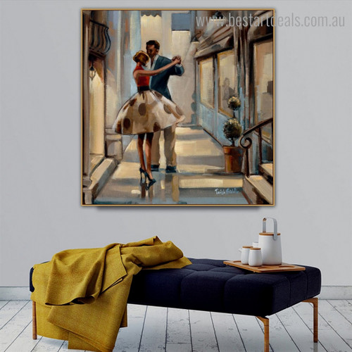 Couple Dance Abstract Figure Modern Framed Smudge Image Canvas Print for Room Wall Garniture