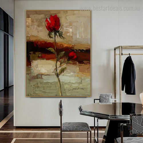 Rose Bud Abstract Floral Modern Framed Painting Image Canvas Print for Room Wall Finery