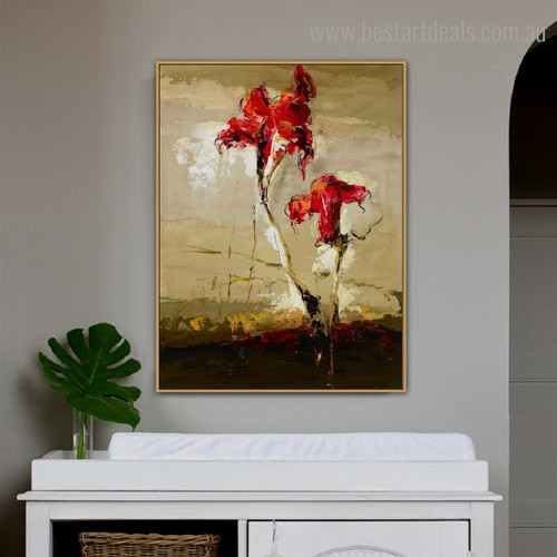 Red Blossoms Abstract Floral Modern Framed Painting Portrait Canvas Print for Room Wall Tracery