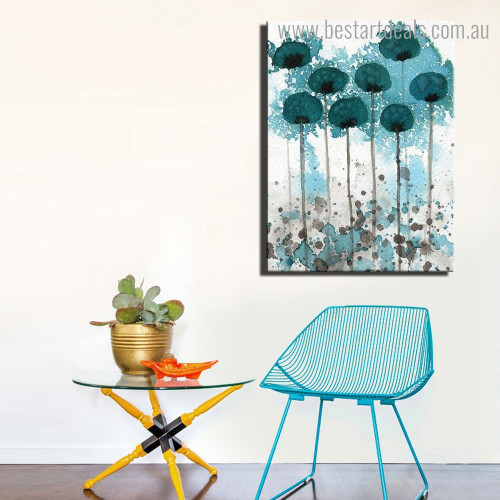 Blue Flowers Abstract Floral Watercolor Framed Painting Picture Canvas Print for Room Wall Outfit