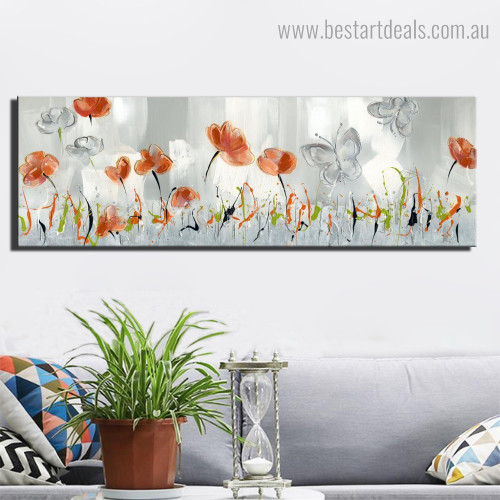 Orange Poppy Abstract Floral Framed Painting Portrait Canvas Print for Room Wall Finery
