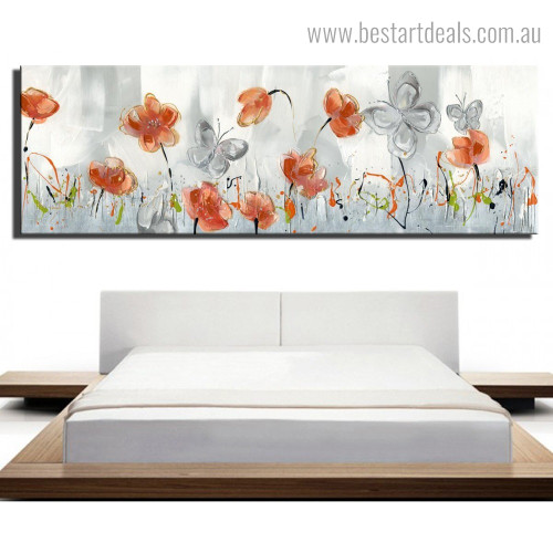 Orange Bloom Abstract Floral Framed Painting Portrait Canvas Print for Room Wall Garniture