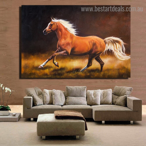 Brown Steed Animal Nature Framed Artwork Image Canvas Print for Room Wall Decoration