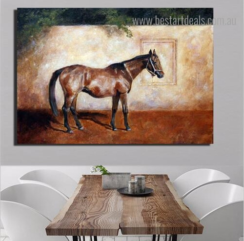 Domestic Mare Animal Nature Framed Artwork Image Canvas Print for Room Wall Getup